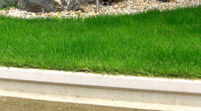 Obrubník z dosiek TR beton, ako základ pre zatrávnenú plochu alebo záhon